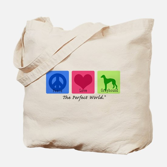 Peace Love Greyhound Tote Bag