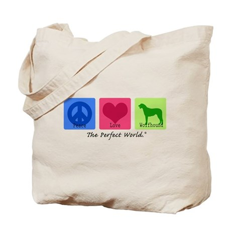 Peace Love Wolfhound Tote Bag
