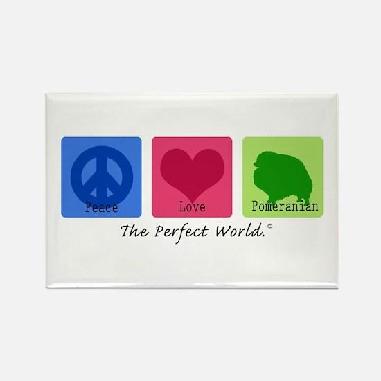 Peace Love Pomeranian Rectangle Magnet