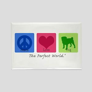 Peace Love Pug Rectangle Magnet