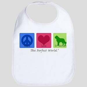 Peace Love St Bernard Bib
