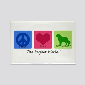 Peace Love St Bernard Rectangle Magnet