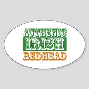 Authentic Irish Redhead Oval Sticker