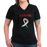 Bone Cancer Warrior Women's V-Neck Dark T-Shirt