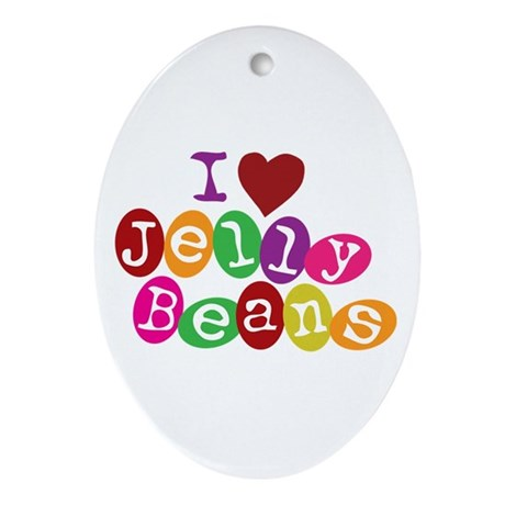 I Love Jellybeans Oval Ornament
