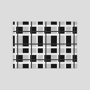 Black and White Plaid 5'x7'Area Rug