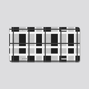 Black and White Plaid Aluminum License Plate