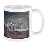 dog art, greyhound racing picture on ceramic Mug