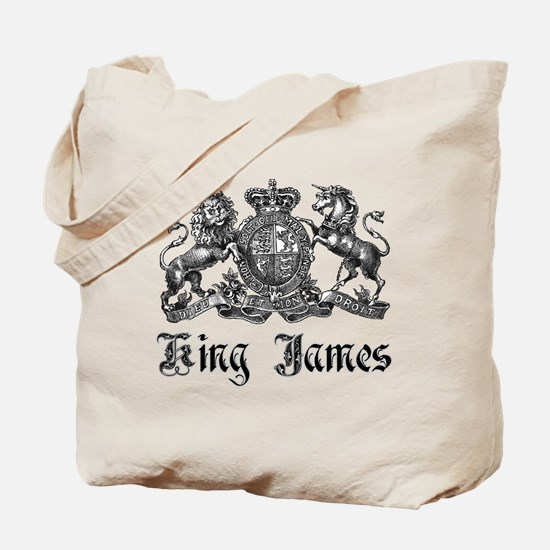 King James Vintage Crest Family Name Tote Bag