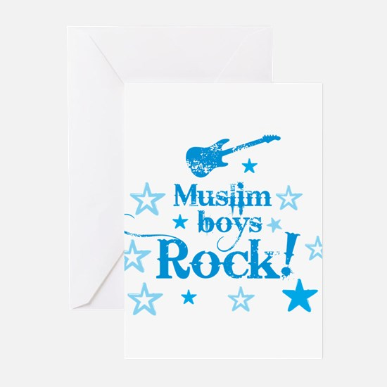 Muslim Boys Rock Greeting Cards