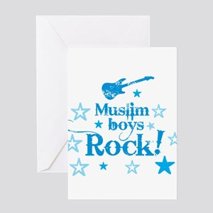 Muslim Boys Rock Greeting Cards