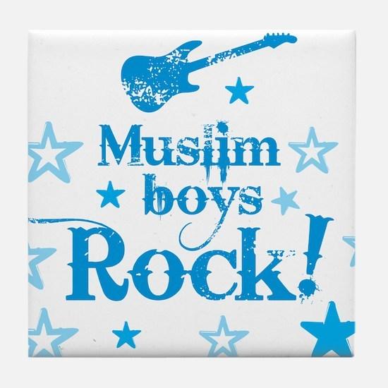 Muslim Boys Rock Tile Coaster