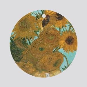Van Gogh Vase with Sunflowers Ornament (Round)