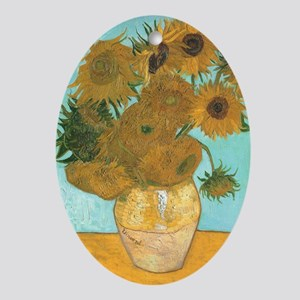 Van Gogh Vase with Sunflowers Ornament (Oval)