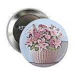 Pastel Floral Basket Pin-on Button