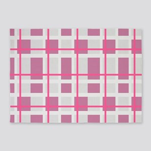 Pink and Gray Plaid 5'x7'Area Rug
