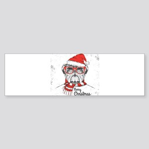 Merry Christmas Hipster Bulldog Bumper Sticker
