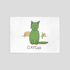 """Funny """"Catcus"""" Cactus 5'x7'Area Rug"""