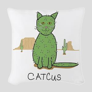 "Funny ""Catcus"" Cactu Woven Throw Pillow"