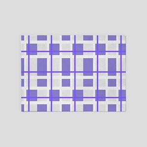 Purple and Gray Plaid 5'x7'Area Rug