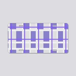 Purple and Gray Plaid Aluminum License Plate