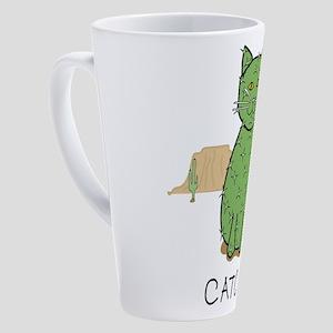 """Funny """"Catcus"""" Cactus 17 oz Latte Mug"""