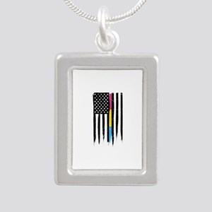 Pansexual Thin Line Amer Silver Portrait Necklace
