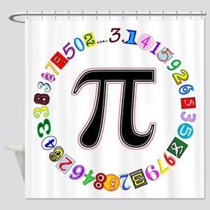 Colorful and Fun Circle of Pi Shower Curtain