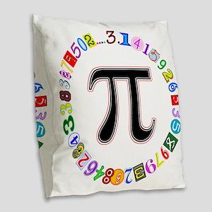 Colorful and Fun Circle of Pi Burlap Throw Pillow