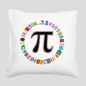 Colorful and Fun Circle of Pi Square Canvas Pillow