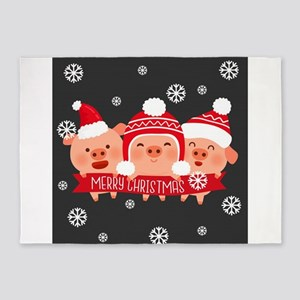 Three Little Piggys Say Merry Chris 5'x7'Area Rug