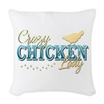 Chicken Lady Woven Throw Pillow