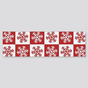 Red and White Checkered Snowflakes Bumper Sticker