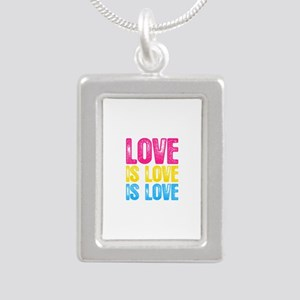 Pansexual Pride Love is Silver Portrait Necklace