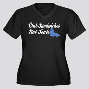 Club Sandwiches... Women's Plus Size V-Neck Dark T