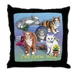 Cats Gone Wild Throw Pillow