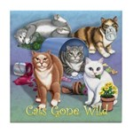 Cats Gone Wild Tile Coaster