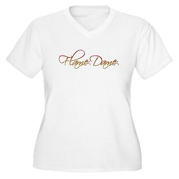 Flame Dame Women's Plus Size V-Neck T-Shirt