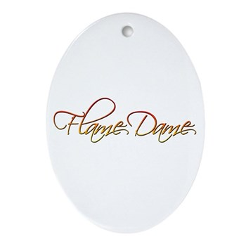 Flame Dame Oval Ornament