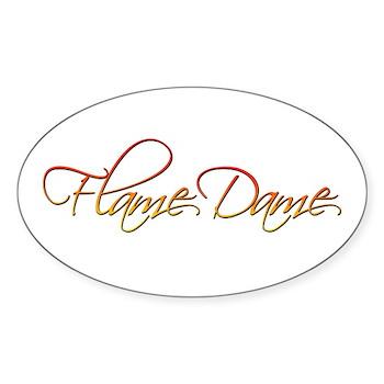Flame Dame Oval Sticker (10 pk)