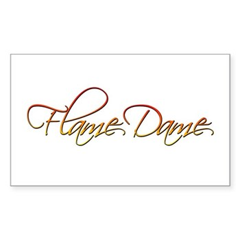 Flame Dame Rectangle Sticker 10 pk)