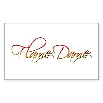 Flame Dame Rectangle Sticker 50 pk)