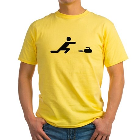 black curling logo curl symb Yellow T-Shirt