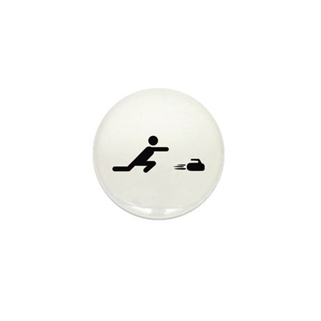 black curling logo curl symb Mini Button (10 pack)