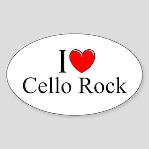 """""""I Love (Heart) Cello Rock"""" Oval Sticker"""