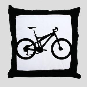 black mountain bike bicycle Throw Pillow