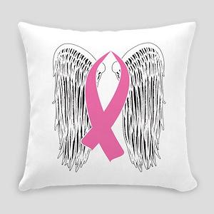 Winged Awareness Ribbon (Pink) Everyday Pillow