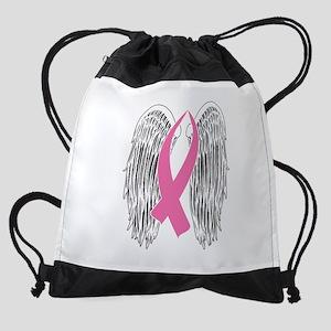 Winged Awareness Ribbon (Pink) Drawstring Bag