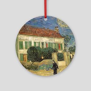 Van Gogh White House at Night Ornament (Round)