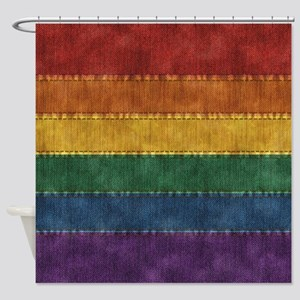 Rainbow Denim Flag Shower Curtain